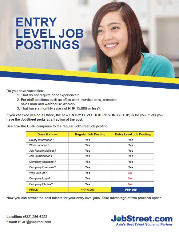 Entry Level Job Posting Jobstreet Employer Ph